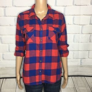 Red and Blue Plaid American Eagle Button Down